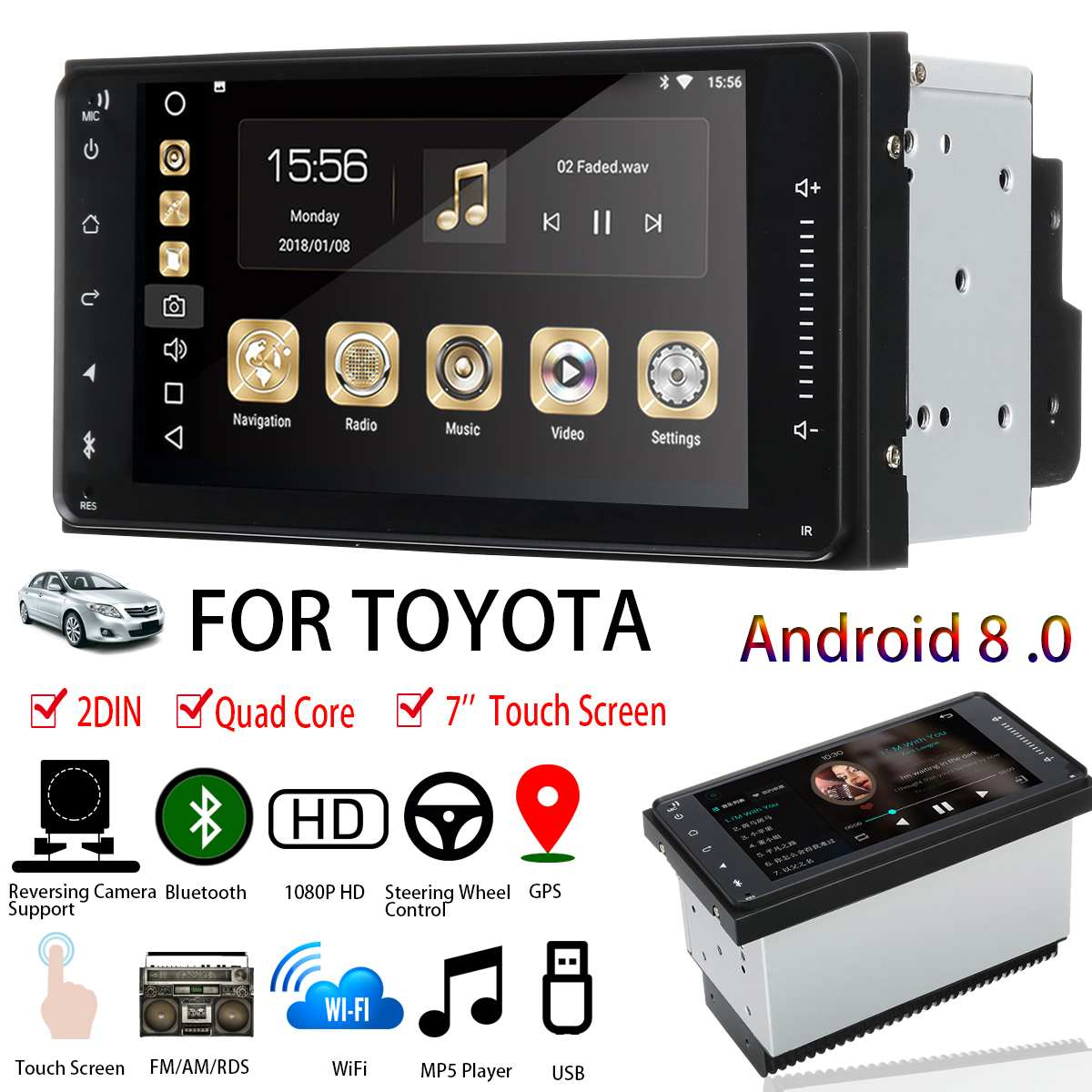 7'' for Android 8 Car Stereo for Toyota 2DIN Blutooth WIFI GPS Nav Quad Core Radio Video MP5 Player Car Multimedia Player