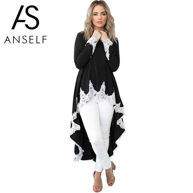 bc698dcd5f7 Повседневное для женщин осень плюс размеры кафтан платье АСИММЕТРИЧНЫМ  ПОДОЛОМ кружево сращивания одежда с длинным рукавом