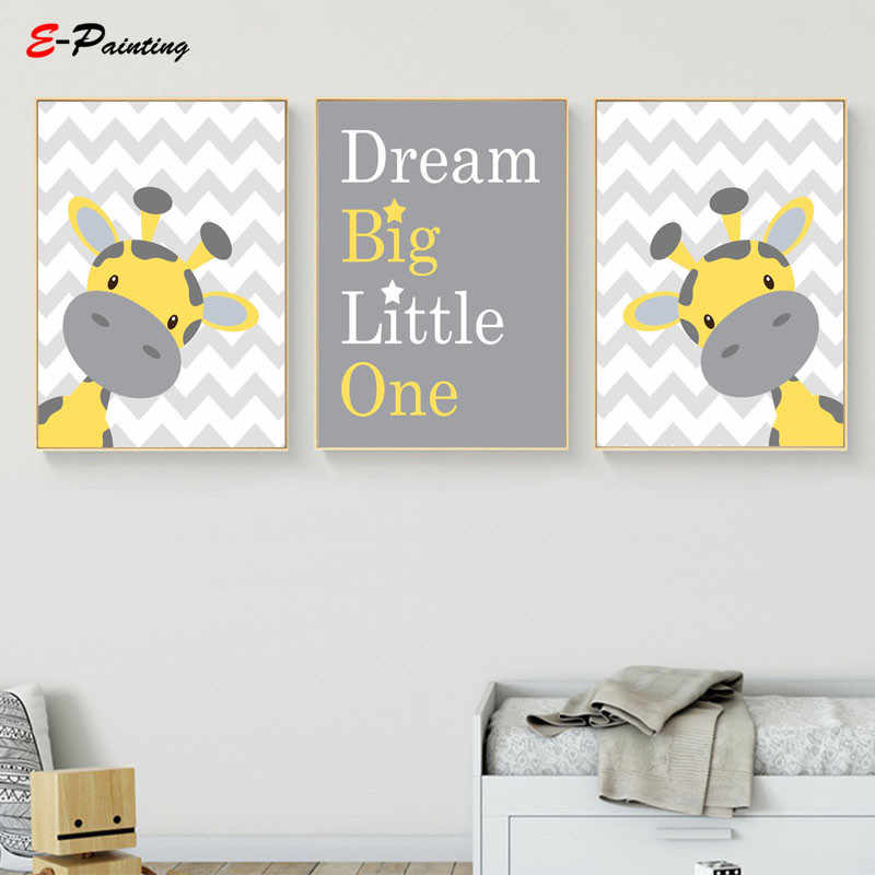 Baby Boy Nursery Wall Art Picture Giraffe Print Yellow and Gray Canvas  Painting Kid Bedroom Cute Decoration Posters
