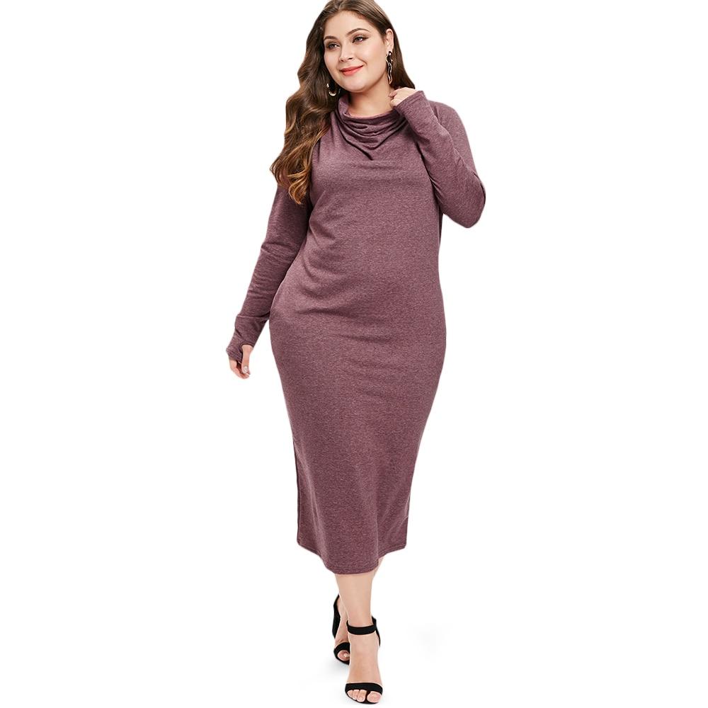 Cowl Neck Sheath Dresses: Plus Size Cowl Neck Long Sleeve Dress Women Casual Dresses