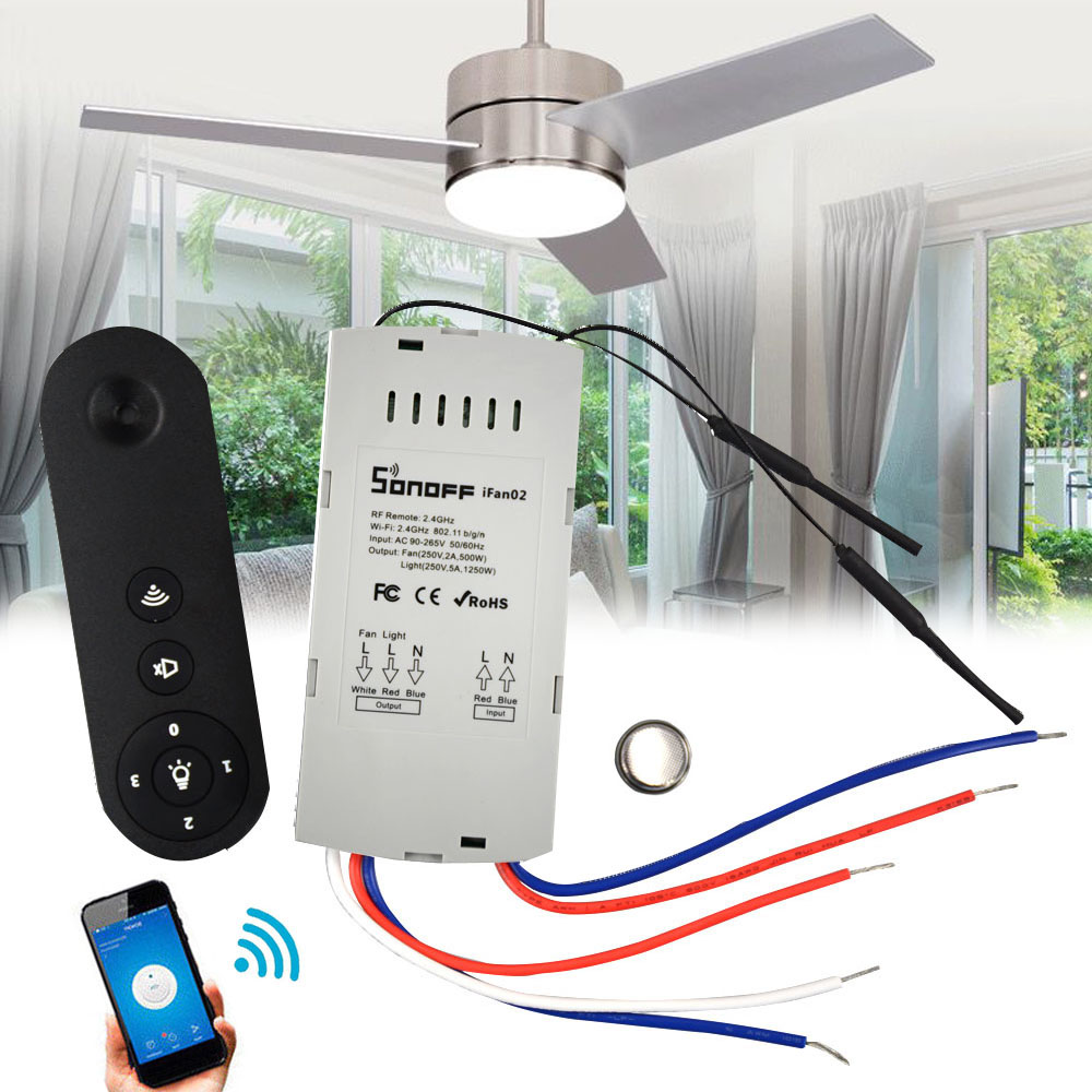 SONOFF IFan02 LED Ceiling Fan Smart Switch Controller Timer APP Remote  Control WiFi Smart Ceiling Fan With Light