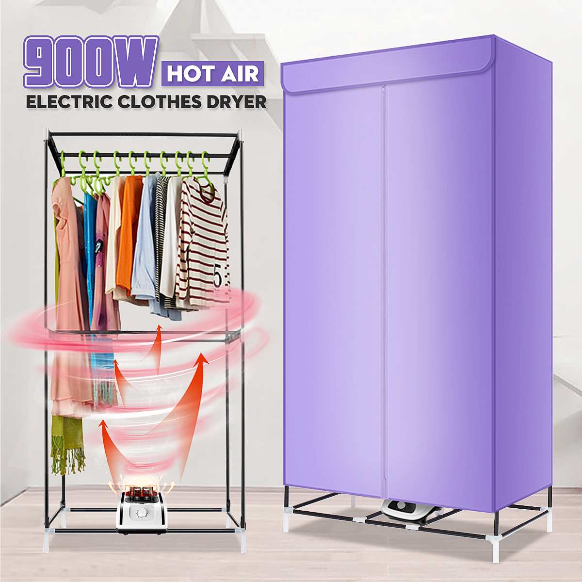900/1000W 220V Electric Cloth Dryer Household Portable Baby Cloth Shoes Boots Dryer Power Motor Drying Warm WWnd Laundry Garment