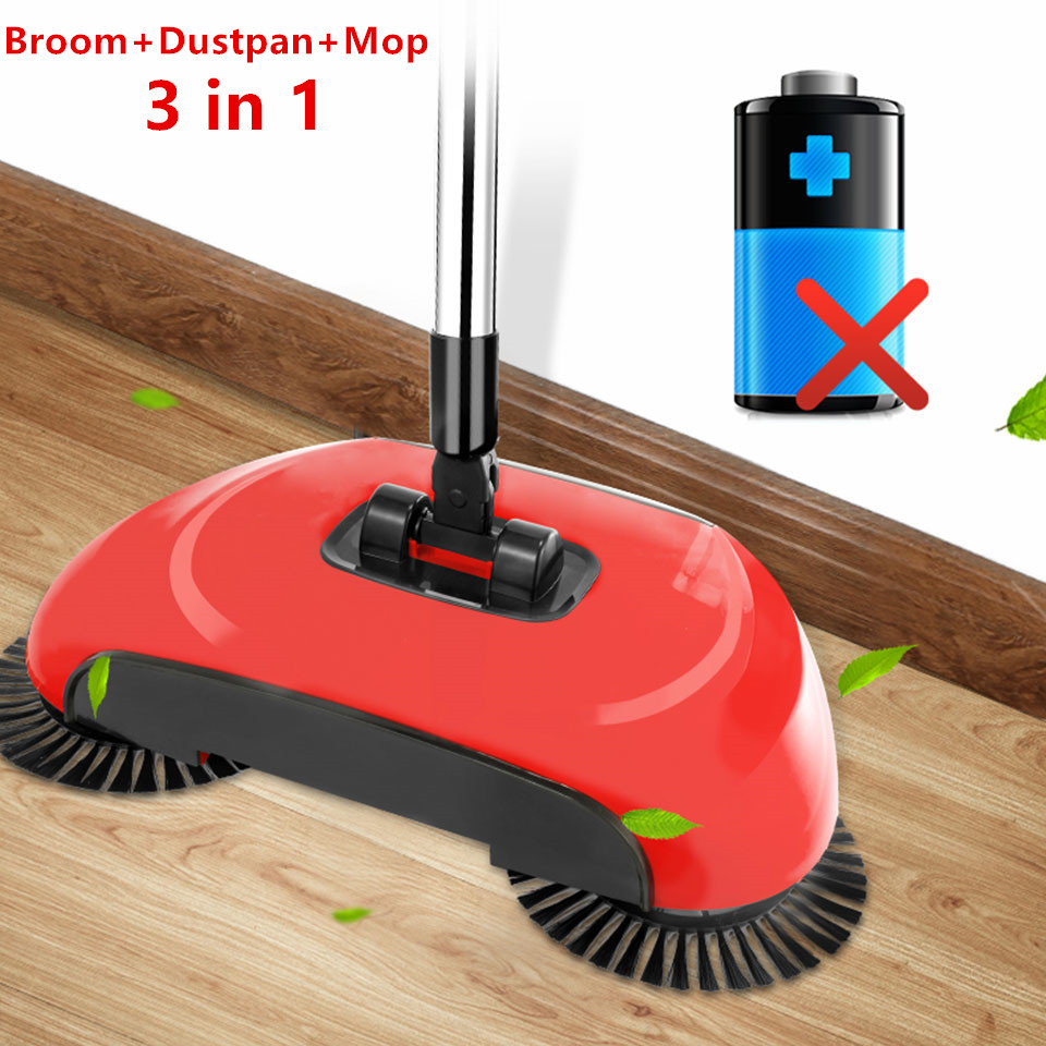 Magic Broom Dustpan Lazy Mop Spin 360 Degree Broom Sweeper No Electricity Stainless Steel Hand Push Sweepers Sweeping Machine(China)