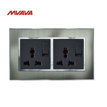 Mvava 6 Pin Switched Plug Double Multifunctional Power Outlet Dual Wall Socket with Switch Silver Satin Metal EU UK US