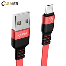 Caseier Reversible Micro USB Type C Cable For Samsung Huawei Xiaomi Redmi Phone Noodle PVC Flat Wire Fast Charging Cables