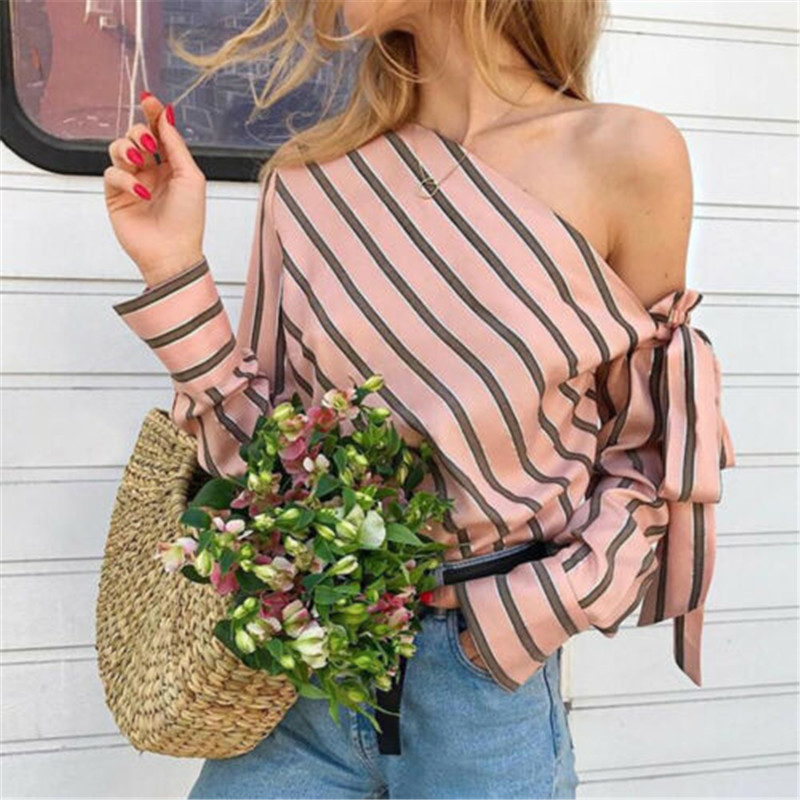 Women Striped Shirts Tops Fashion One Shoulder Lacing Up Bandage Ladies Blouse High Street Loose Blusa Shirt Casual Chemise(China)