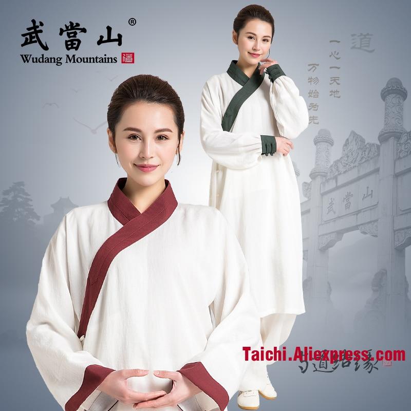 Oblique Collar Linen Tai Chi Uniform Long Tai Chi Robe Unisex Taoism Wu Shu Clothing Top And Pants