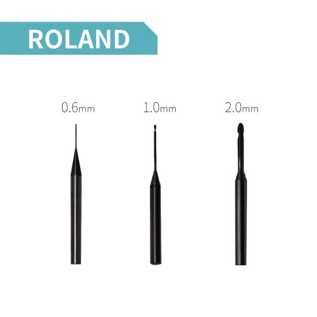 3 pieces dental cad cam milling burs for Roland DWX 50 CAD CAM milling system 0.6/1.0/2.0mm