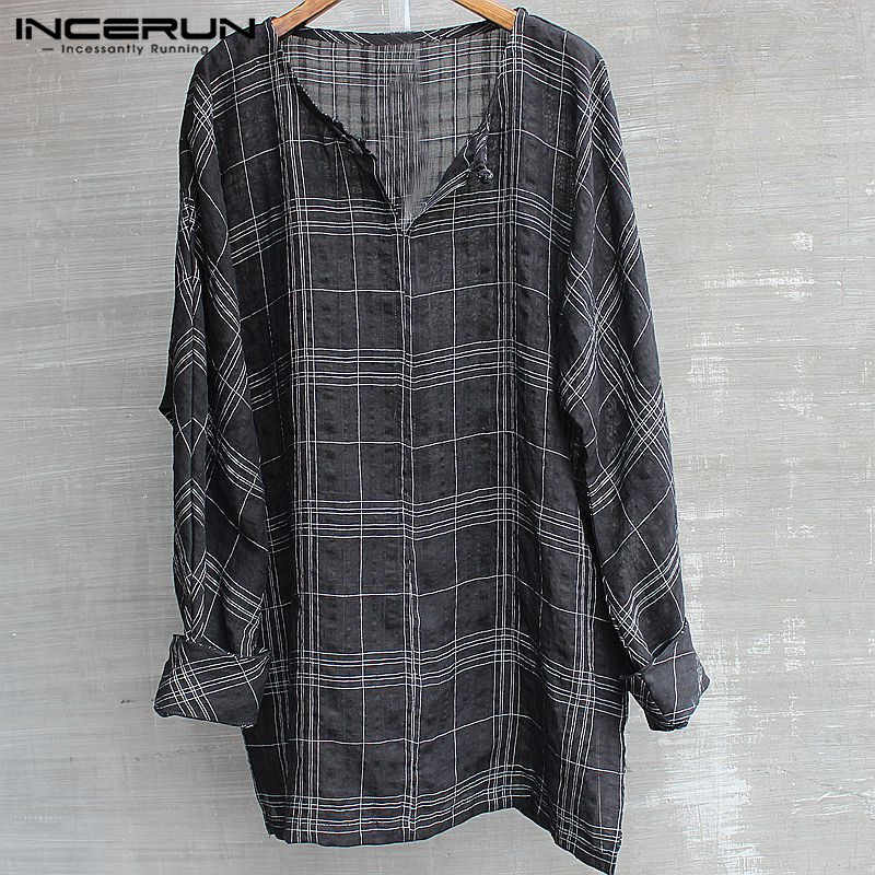 Incerun Fashion 2019 Pria T-shirt Lengan Panjang Kisi Kasual Longgar Retro Gaya HIPHOP Ukuran Plus L-5XL