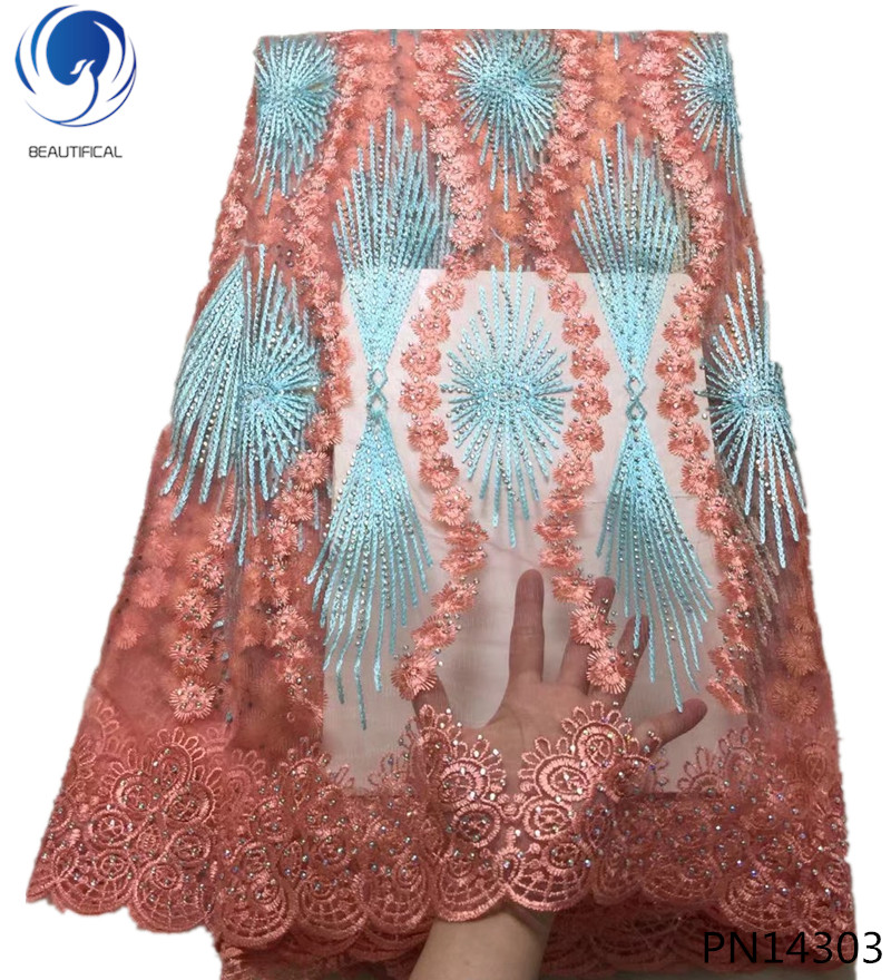 BEAUTIFICAL tulle lace fabric beaded lace fabric embroidery lace fabric wholesale clothes women cheap online shopping PN143