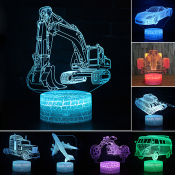 Car Acrylic 3D Hologram Lamp 7 Color Change Night Light Baby Touch Switch Colored lights LED USB Desk lamp Atmosphere lamp D30 цена 2017