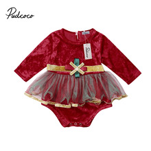цены Newborn Toddler Baby Girl Velvet Tulle Long Sleeve Rompers Jumpsuit Playsuit Outfits Clothes 0-18 Months