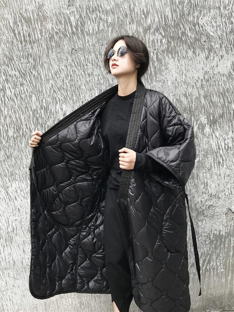 Manteau Et souris Lanmrem Coton Black rembourré Coupe Manches Nouveau vent Femmes Lâche Chauve 2019 Printemps Japon Taille D'hiver Jd18601 Grande Styles qZRtZzAwr