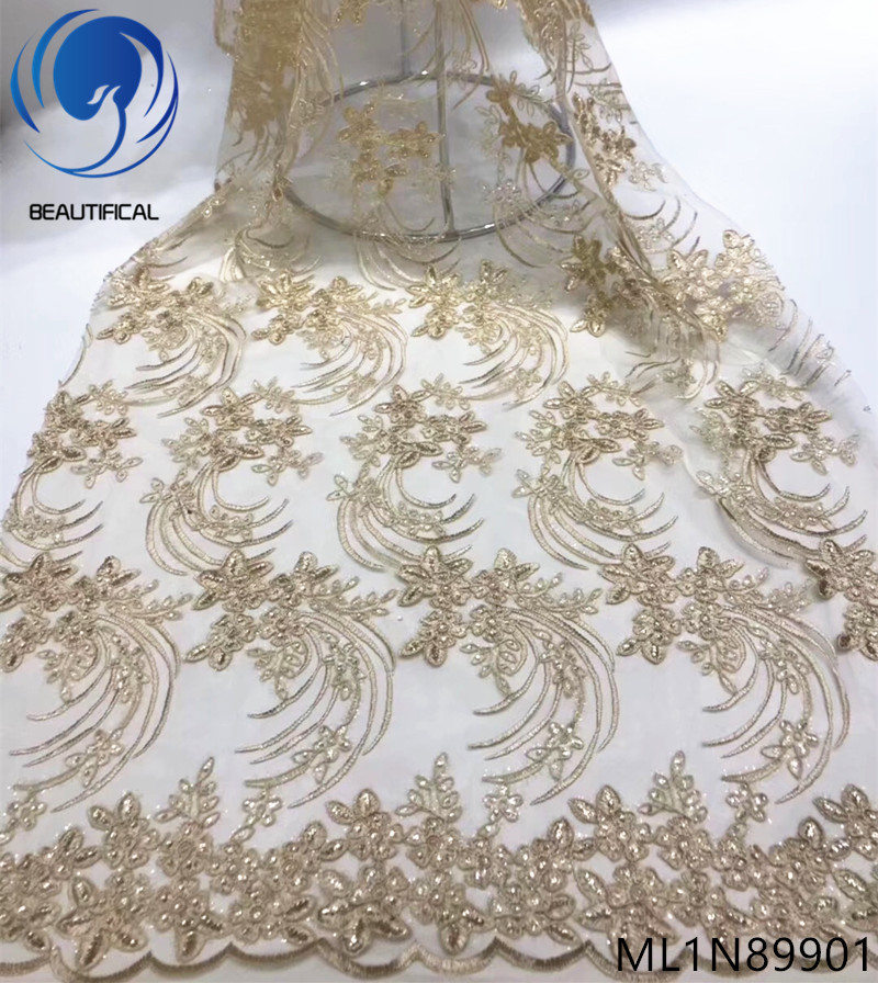 BEAUTIFICAL french lace fabric embroidery mesh tulle lace with sequins nigerian french lace ML1N899BEAUTIFICAL french lace fabric embroidery mesh tulle lace with sequins nigerian french lace ML1N899
