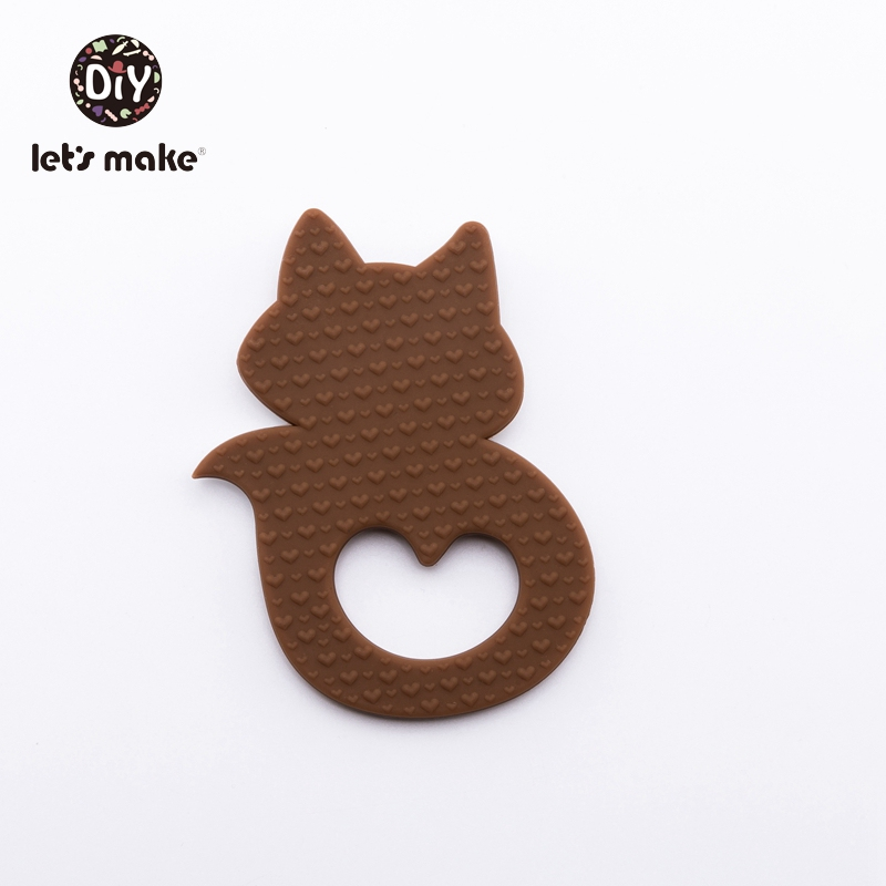 Купить с кэшбэком Let's Make Baby Teether Rodent 4-6months Animal Cartoon Food Grade PVC Free 1pc Fox Wholesale Teething Toys Silicone Teethers