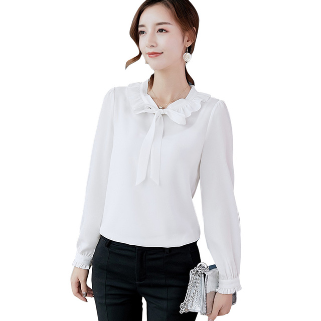 d3dd5bc3d 2019 Summer Chiffon Blouses Women Bow Tie Ruffles Long Sleeve Tops Plus  Size Solid Color Elegant Ladies Office Shirts Blusas
