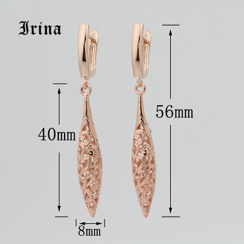 Irina New Cute Earring Unique Carved Hollow 585 Gold Rose jewelry Long Earrings Women Fashion Wedding Party Fine Ethnic Jewelry