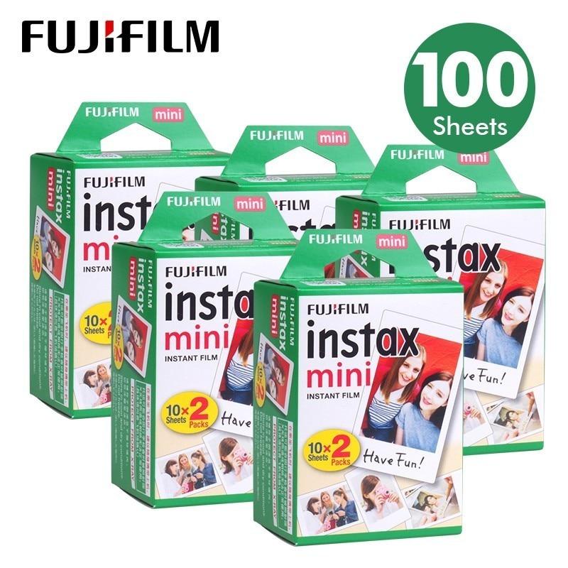 100 Folhas Fujifilm Instax Mini 8 filme para Fuji 7 s 9 70 25 50 s 90 Instant Photo Camera Branco FilmShare SP-1 SP-2