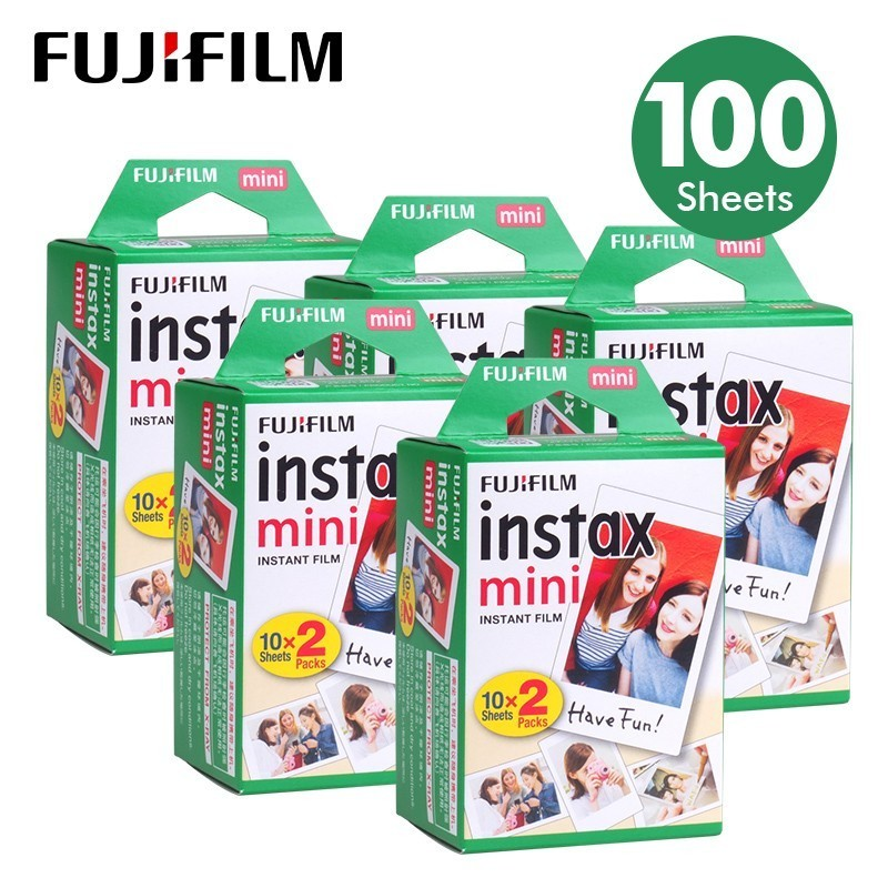 100 Sheets Fujifilm Instax Mini 8 film for Fuji 7s 9 70 25 50s 90 Instant Photo Camera White FilmShare SP-1 SP-2