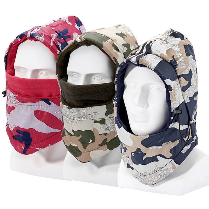 Camouflag Hat Mask Waterproof Windproof Balaclava Winter Hat Women Men Full Face Warmmer Beanies Ski Hat Unisex Bicycle Warm Cap