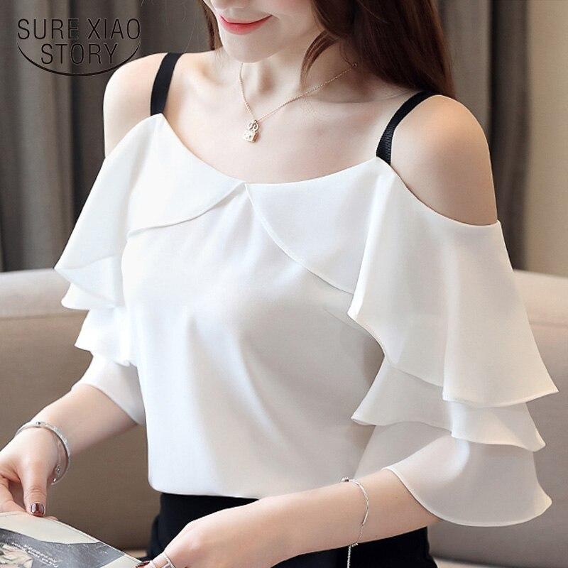 Модные женские блузки 2019 с коротким рукавом, женские рубашки, белая шифоновая блузка, рубашка, женские топы, топ с плечами открытыми 3571 50
