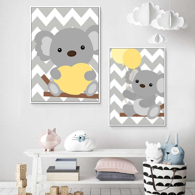 Nórdico Pintura Da Lona Urso Koala Dos Desenhos Animados Balão Do Coração Citação Wall Art Posters e Impressões Menino o Bebê Caçoa a Decoração Do Quarto