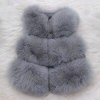 Детский жилет с натуральным лисьим мехом, осенне зимние теплые жилеты для девочек, короткие плотные жилеты для детей, серый цвет, натуральны