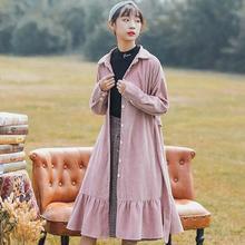 Mori Girl свободное вельветовое платье Осенняя зимняя одежда женская с длинными рукавами розовая длинная рубашка платья с оборками