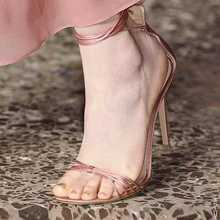 Sexy Pink Heel Strappy Sandals Cut-out Ankle Strap 2019 Summer Sandals Shoes Women High Quality Wedding Shoes Bride Customized high quality women fashion strappy patent leather gladiator sandals cut out ankle strap high heel sandals free shipping