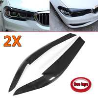 New Real Carbon Fiber Car Front Headlight EyeLids Eyebrows Cover For BMW G30 530i 540i M550i 2017 2018 Head Lamp Cover Eye Lid