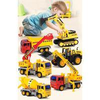 6 Styles Mini Inertia Simulation Plastic Construction Engineering Vehicle Excavator Set Truck Model Classic Toy For Kids