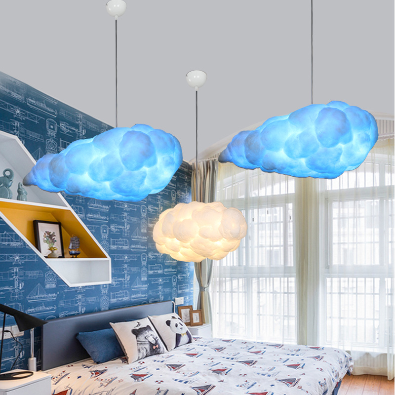 Modern Silk Cotton Pure White Cloud Pendant Light