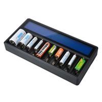 GTF 새로운 다기능 충전기 26650 18650 14500 16340 AA AAA No. 5 Ni-MH 리튬 배터리 10 슬롯 LCD 스마트 충전기