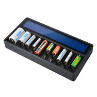 GTF New Multi Function Charger 26650 18650 14500 16340 AA AAA No. 5 Ni MH Lithium Battery 10 Slot LCD Smart Charger