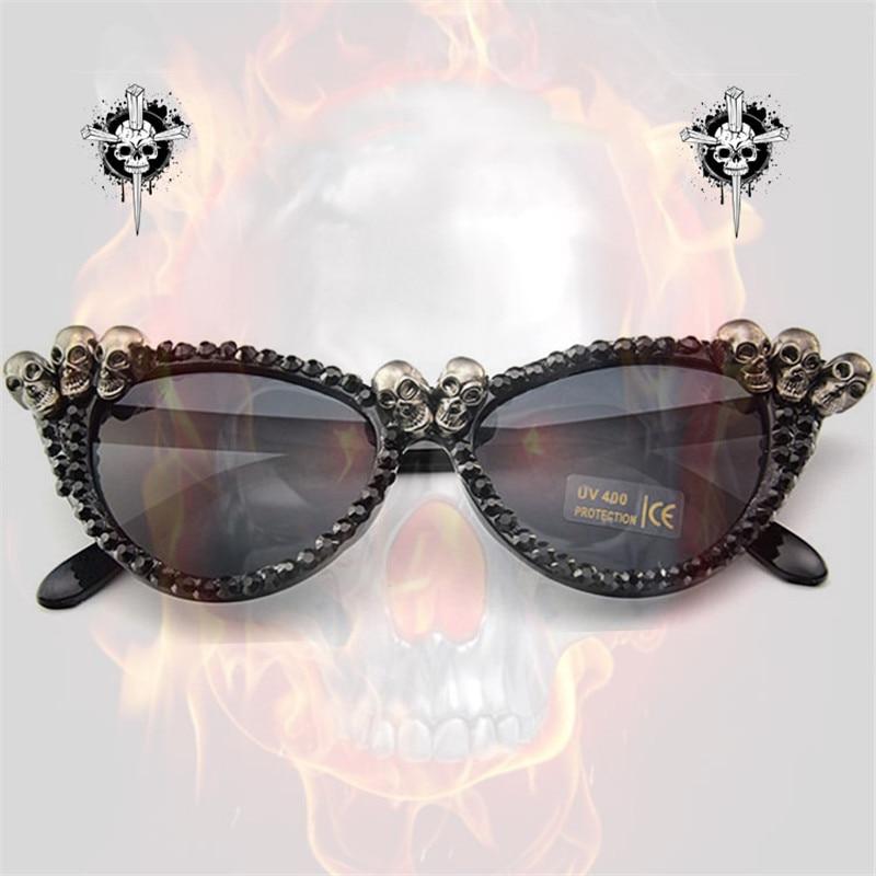 Vazrobe hecho a mano gato ojo gafas de sol gafas mujer rhinestone DIY Steampunk envío venta al por mayor de alta calidad