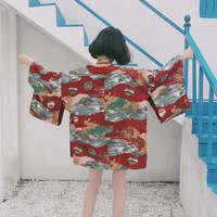 Beach kimono cardigan Fashion V neck Outwear Harajuku Cartoon Animals Print Coat Sashes Design Tops female yukata shirt Q021