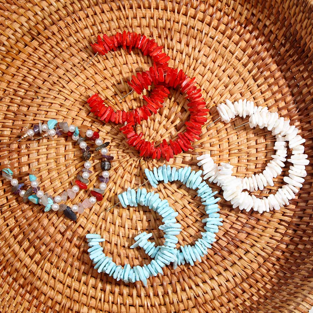 JUST FEEL Trendy 2019 New Bohemian Shell Dangle Earrings For Women Round Handmade Jewelry Resin Pendant Earring Party Wedding