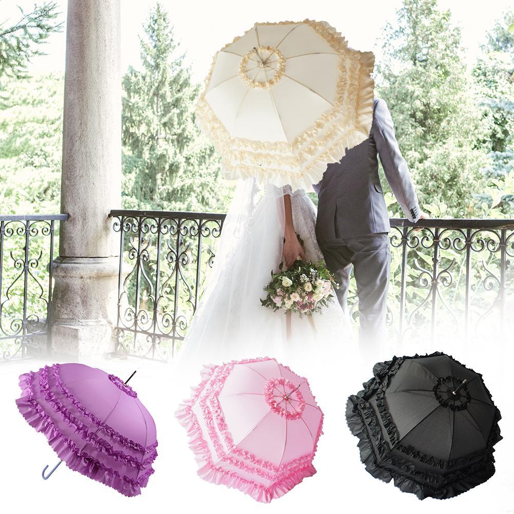 Duplo Lace Parasol Princesa Parasol Umbrella Nupcial Elegante Do Casamento Fotografia Adereços