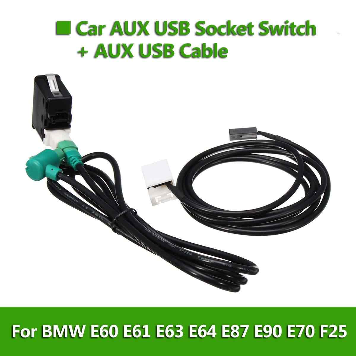 detail feedback questions about car aux usb socket switch+aux usb cable usb  cable adapter audio harness wire for bmw e60 e61 e63 e64 e87 e90 e70 f25  for