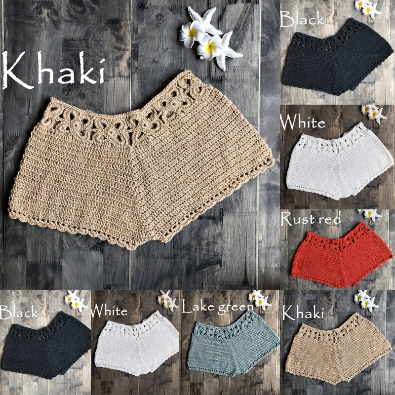 Women Hot Summer Shorts Knit Crochet Plus Size Shorts Trousers Fashion Sexy Bikini Beach Wear Ladies Clothes Bottoms