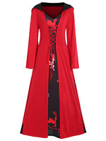 Wipalo Plus Size Christmas Lace Up Hooded Maxi Dress Women Casual Party Dress Long Sleeves A Line Longline Dress Vestidos Femme