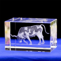 Home Decoration Crystal Ornaments 3D Laser Engraving Cows Festival Commemorative Gift Car Ornaments