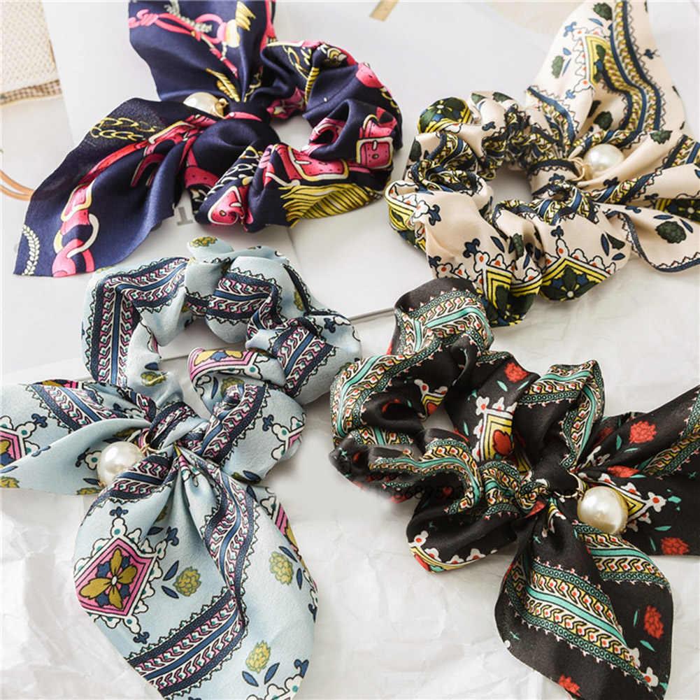 Besar Ikatan Simpul Ikat dengan Mutiara Dicetak Rambut Dasi untuk Gadis Wanita Elastis Rambut Karet Gelang Ekor Kuda Aksesoris