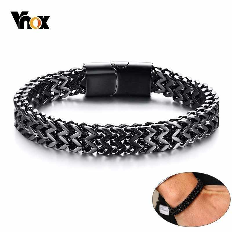 VNOX Stylish Mens Double Wheat Chain Bracelet 8.5MM Stainless Steel Black Silver Color Punk pulseira masculina 19/21cm