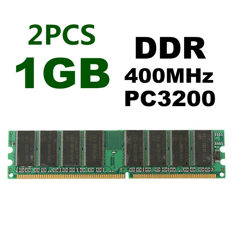 2Pcs X 1GB DDR 400 PC3200 Non-ECC Low Density Desktop PC DIMM Memory For RAM 184 Pins For RAM CPU GPU APU