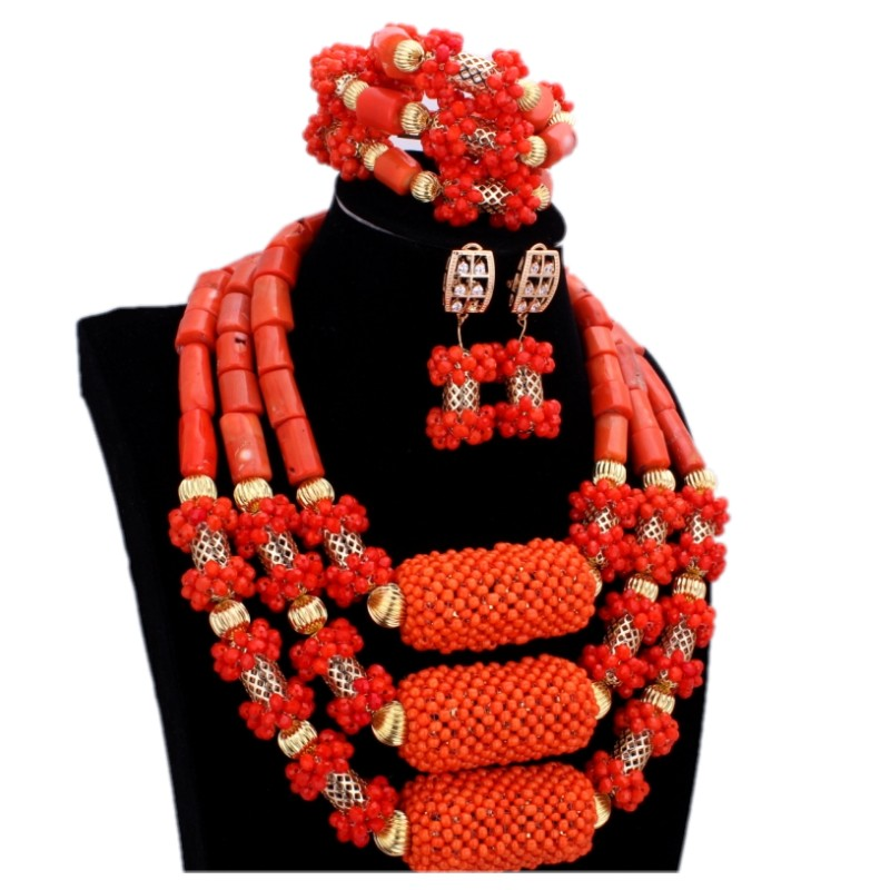 2017 Trendy Orange African Jewelry Sets Nature Coral African Beads Nigerian Gold Balls Dubai Wedding Jewelry Sets Bridal Jewelry цены онлайн