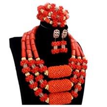 2017 Trendy Orange African Jewelry Sets Nature Coral African Beads Nigerian Gold Balls Dubai Wedding Jewelry Sets Bridal Jewelry cute orange and gold nigerian wedding beads african nigerian coral beads jewelry set jb090