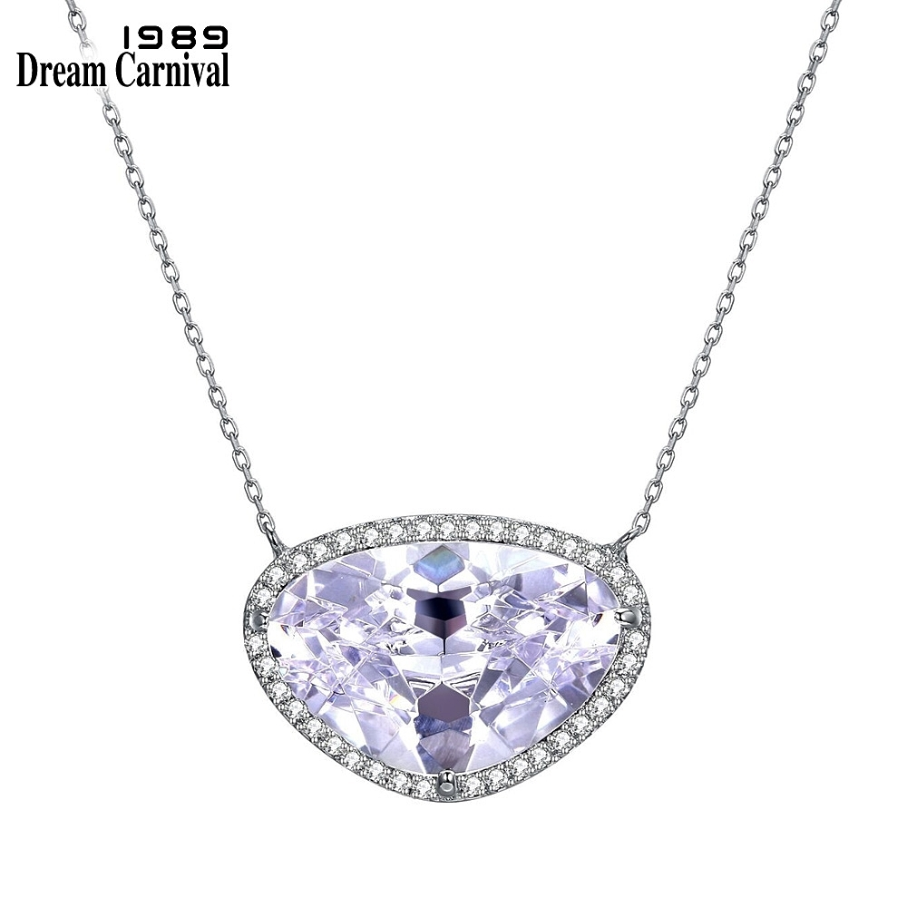 DreamCarnival 1989 New Bright Big CZ Silver 925 jewelry White Cubic Zirconia Fashion Pendant Necklaces for