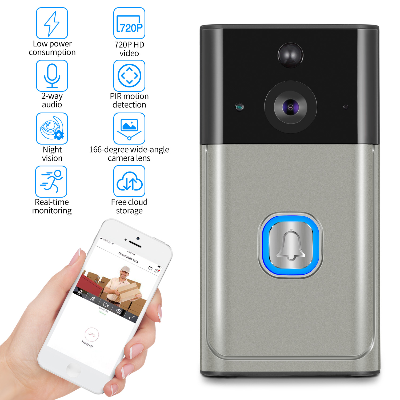 Sonnette vidéo Zeepin H2 WiFi faible consommation d'énergie avec Vision Audio/nocturne bidirectionnelle