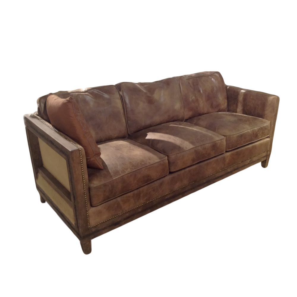distressed leather sofa for living room | Reeves Distressed Leather Sofa-in Living Room Sofas from ...